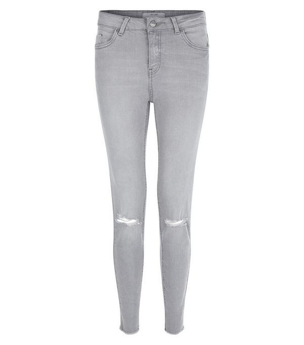 Grey Ripped Knee Raw Hem Skinny Jeans