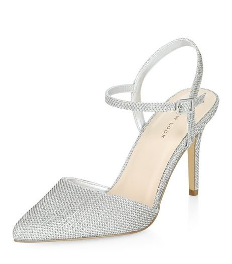 Silver Glitter Sling Back Pointed Heels  | New Look