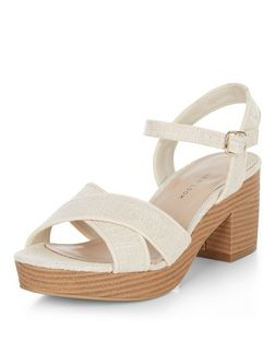 Teens Tan Woven Block Heel Sandals  | New Look