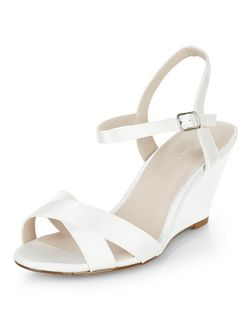 Teens Cream Satin Cross Strap Wedges | New Look