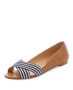 Tan Contrast Stripe Cross Strap Peeptoe Pumps  | New Look