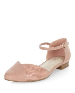 Pink Comfort Snakeskin Textured Panel Ankle Strap Pumps  | New Look