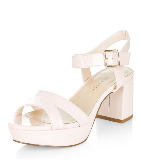 Teens Stone Patent Plaform Heels | New Look
