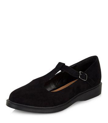 Mocassini  donna Black Suedette T-Bar Shoes
