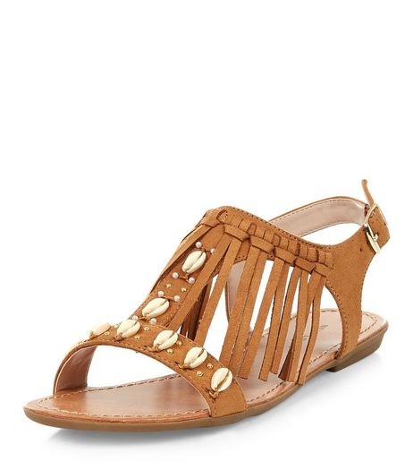 Tan Suedette Shell Fringe Trim Sandals  | New Look