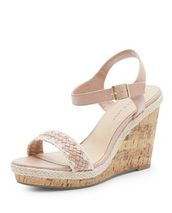 Wide Fit Stone Crochet Woven Strap Wedge Sandals  | New Look