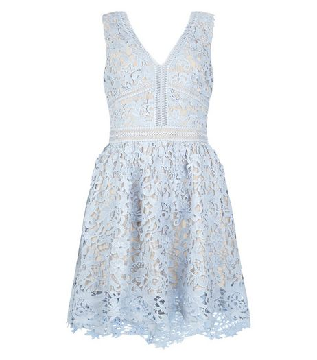 Pale Blue Lace Ladder Trim Skater Dress  | New Look