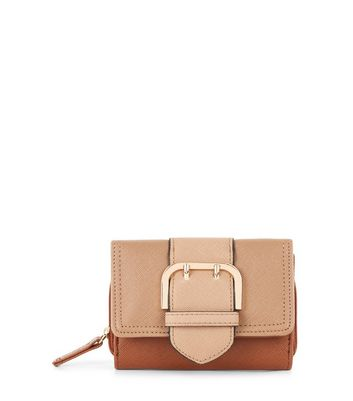 Tan Buckle Front Purse