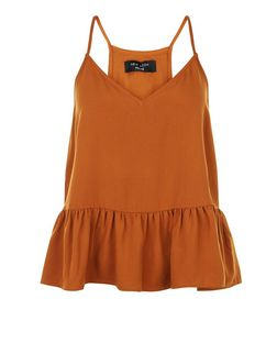 Petite Tan V Neck Peplum Cami | New Look