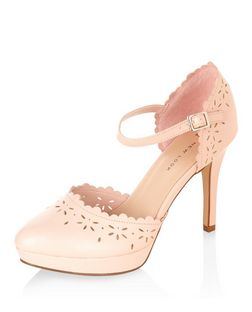Wide Fit Stone Laser Cut Out Ankle Strap Heels  | New Look