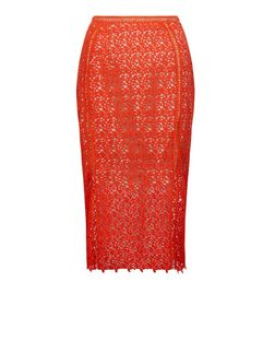 Red Lace Pencil Skirt | New Look