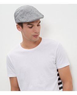 Grey Linen Mix Flat Cap  | New Look