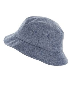 Blue Textured Bucket Hat  | New Look
