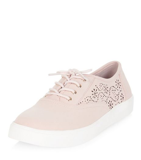 Stone Laser Cut Out Lace Up Plimsolls  | New Look