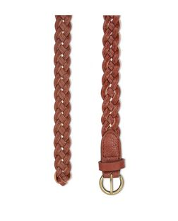 Tan Plaited Skinny Belt  | New Look