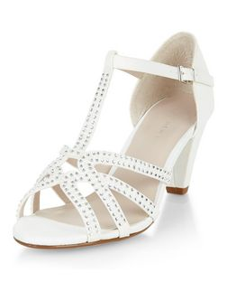 Teens Cream Satin Embellished Sandals | New Look