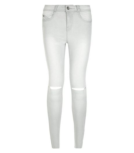Teens Light Grey Ripped Knee Skinny Jeans | New Look
