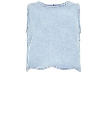 Pale Blue Scallop Hem Crop Top