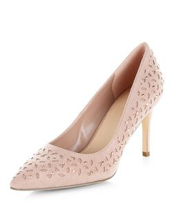 Wide Fit Stone Suedette Laser Cut Out Heels | New Look