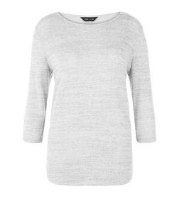 Pale Grey Fine Knit 3/4 Sleeve Top  | New Look