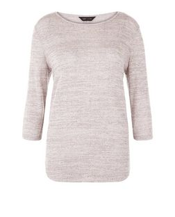 Shell Pink Fine Knit 3/4 Sleeve Top  | New Look