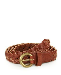 Tan Triple Plait Jeans Belt  | New Look