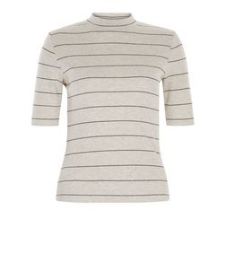 Petite Stone Stripe 1/2 Sleeve Top  | New Look