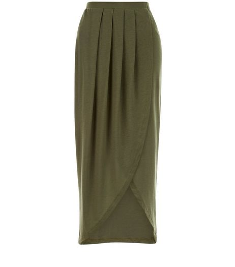 Petite Khaki Wrap Maxi Skirt | New Look