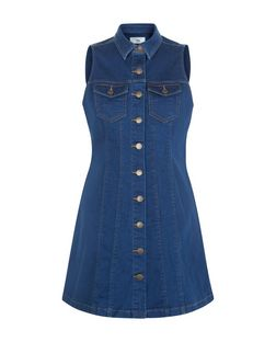 Petite Blue Sleeveless Denim Shirt Dress | New Look