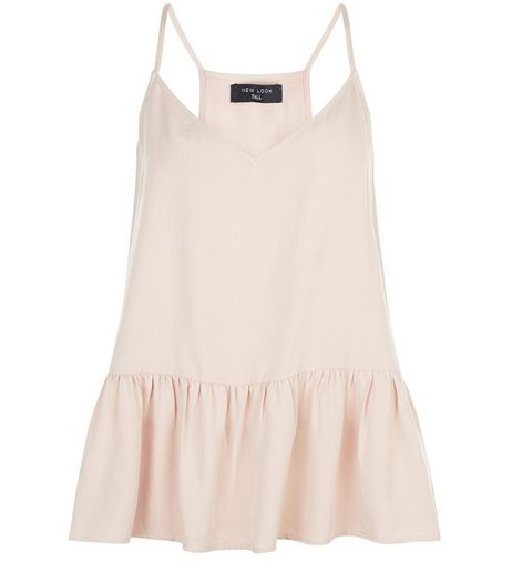 Tall Shell Pink V Neck Peplum Cami | New Look
