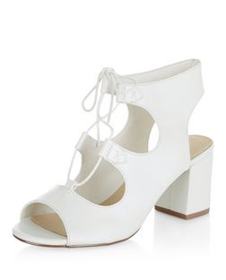 White Comfort Ghillie Block Heels  | New Look