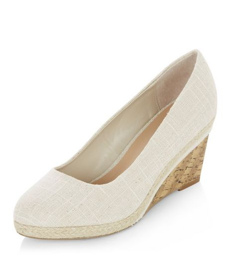 Wide Fit Cream Canvas Contrast Wedges | New Look
