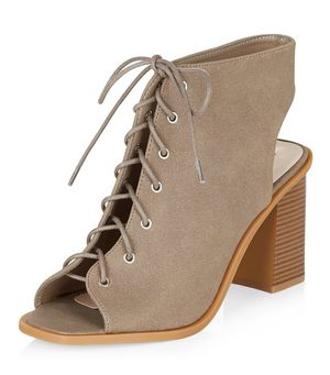 wide fit light brown lace up peep toe block heel ankle boots