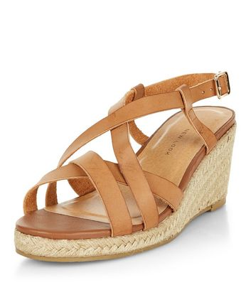 Sandalo  donna Wide Fit Tan Cross Strap Contrast Wedge Sandals