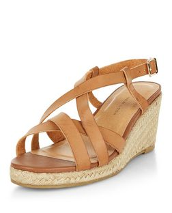Wide Fit Tan Cross Strap Contrast Wedge Sandals  | New Look