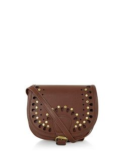 Tan Cut Out Studded Mini Saddle Bag  | New Look