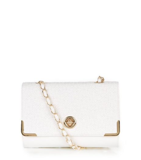 White Floral Stitch Shoulder Bag | New Look
