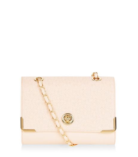 Stone Floral Stitch Shoulder Bag | New Look