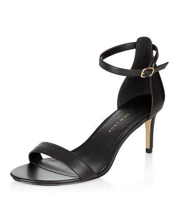 Sandalo  donna Wide Fit Black Leather Heeled Sandals
