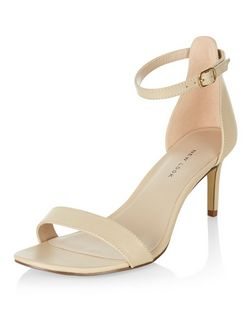 Wide Fit Stone Leather Heeled Sandals  | New Look
