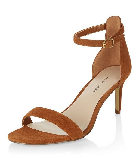 Wide Fit Stone Suede Heeled Sandals  | New Look