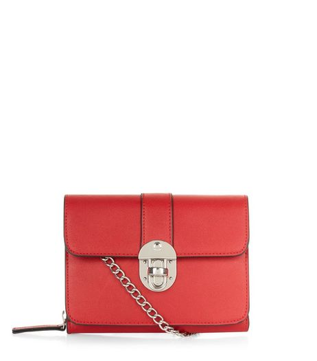 Red Mini Push Lock Clutch | New Look