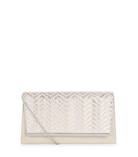 Stone Zig Zag Clutch | New Look