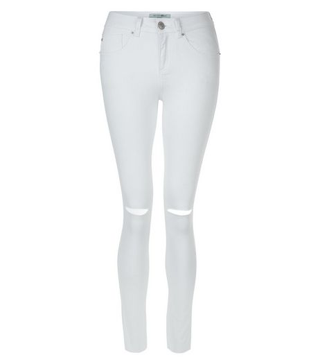 Teens White Ripped Knee Raw Hem Skinny Jeans | New Look