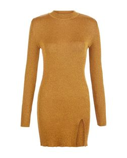 Tan Ribbed Funnel Neck Split Front Longline Jumper  | New Look