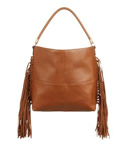 Tan Knotted Fringe Side Shoulder Bag  | New Look