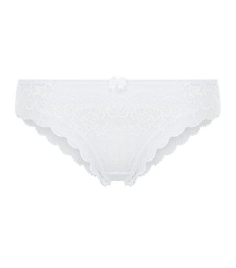 White Lace Scallop Hem Brazilian Briefs | New Look
