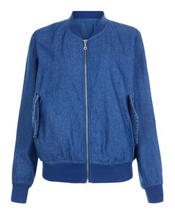Innocence Blue Denim Bomber Jacket  | New Look
