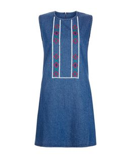 Innocence Blue Embroidered Tunic | New Look