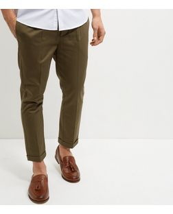 Khaki Single Pleat Cropped Trousers  | New Look